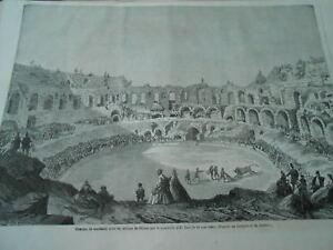 Ouvert D'Esprit Gravure 1863 - Courses De Taureaux Dans Les Arènes De Nimes Quadrilles D'el Tato Des Performances InéGales