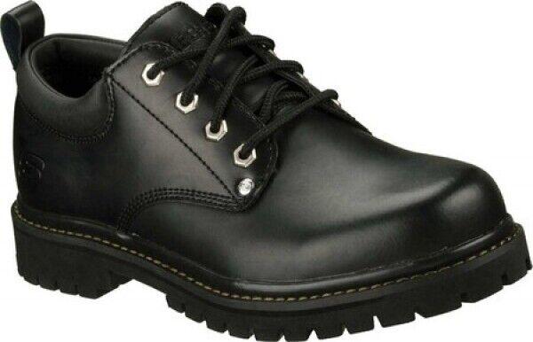 Nuevo Para hombres Cuero Negro Skechers Alley Cats Zapatos resistente al desgaste auténtico aceitoso