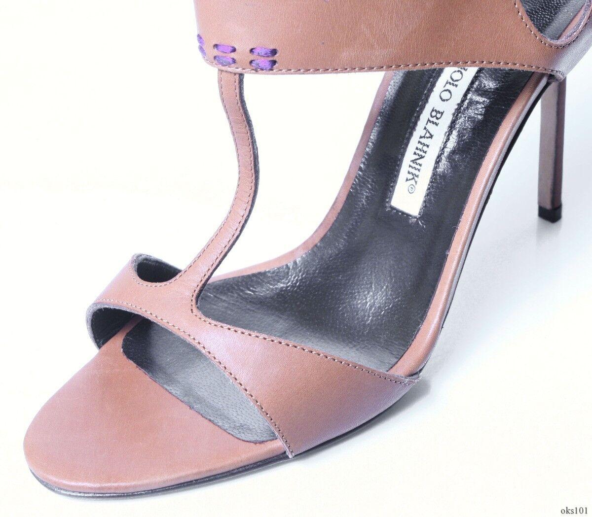 New  745 MANOLO BLAHNIK BLAHNIK BLAHNIK  Crepida  braun open-toe T-strap schuhe - SEXY a42024