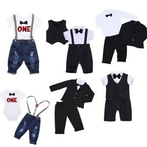 cd454fde95cf Image is loading Baby-Boys-Gentleman-Formal-Suit-Outfits-Toddler-Party-