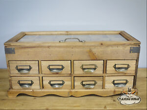 Details About Small Storage Unit Wooden Cabinet 8 Drawers Handles Gl Doors Chest Organiser