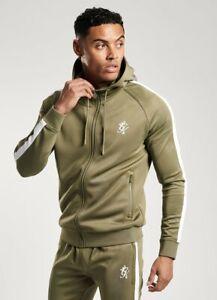 Gym-King-Mens-New-Long-Sleeve-Full-Zip-Poly-Tracksuit-Top-Hoodie-Basis-Khaki