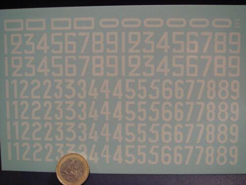 T315 DECALS 1//24 CHIFFRES BLANCS ANCIENNES TYPOGRAPHIE PART 1