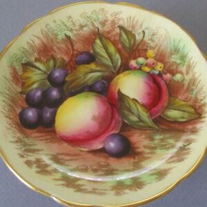 "Vintage AYNSLEY Bone China 5"" Cupcake Stand Fruit ORCHARD Gilt Pedestal * Jones"