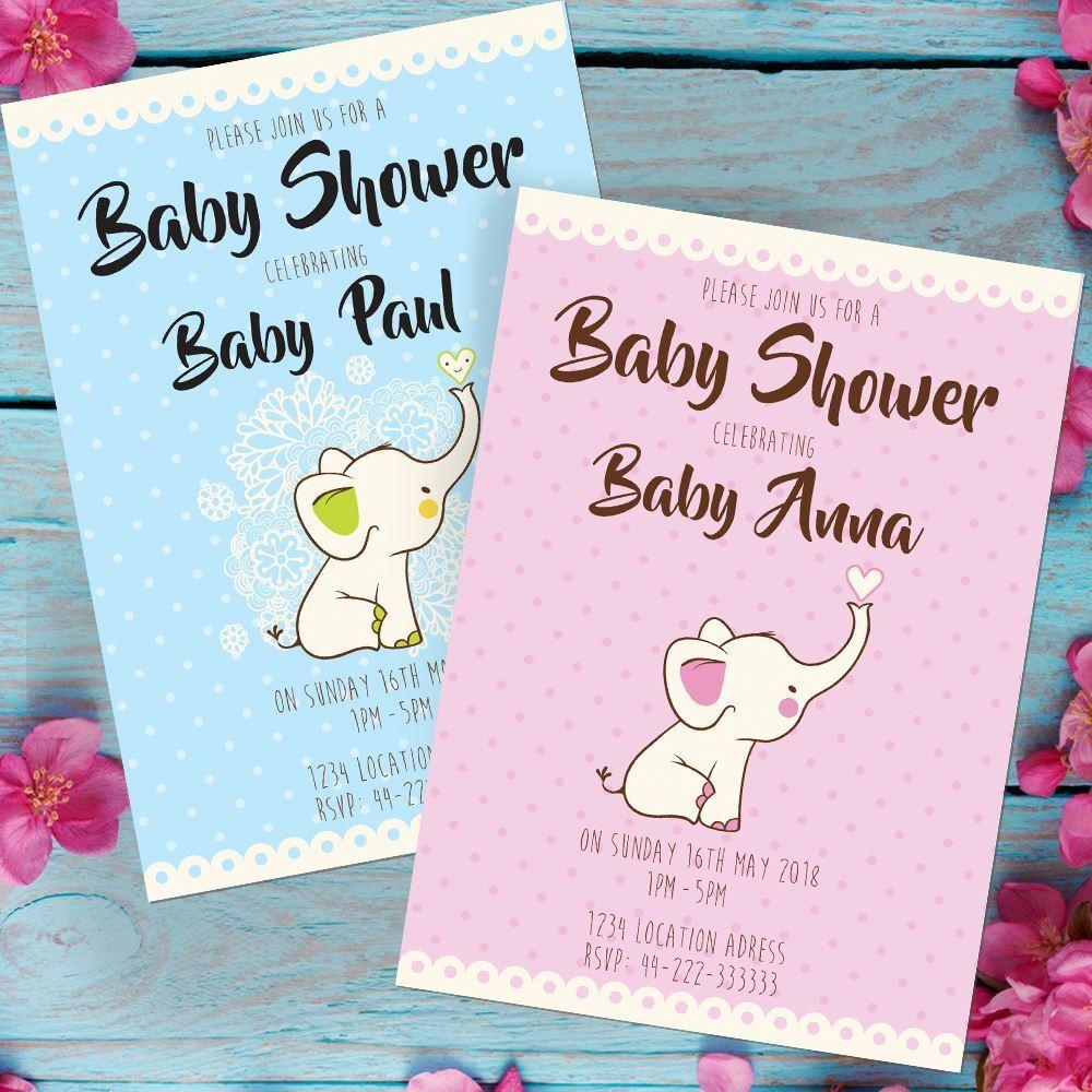 Personalised Baby Shower Invitations Elephant Design boy or girl & envelopes