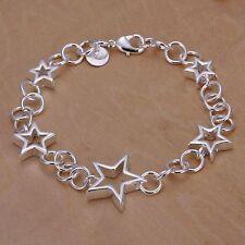 Silver multi Star chain link Bracelet NEW Beautiful 925P bangle