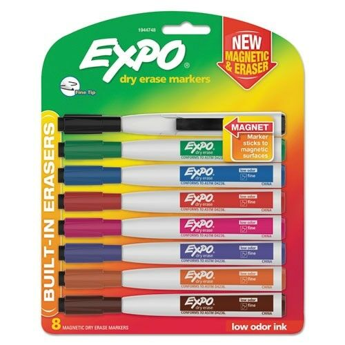 Pack of 4 Fine Tip EXPO Magnetic Dry-Erase Markers with Erasers Black