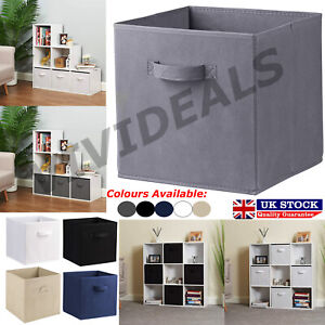 Square-Foldable-Canvas-Storage-Collapsible-Folding-Box-Fabric-Kids-Cubes-Toys-UK