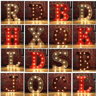 12'' Metal Marquee Letter LED Lights Vintage Circus Style Alphabet Light Up Sign