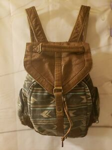 Billabong-Women-039-s-Backpack-Faux-Leather-Canvas-Southwest-Pattern-Drawstring