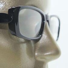 Reading Glasses Chunky Bold Full Rich Black Glossy Square Frame +3.25 Lens