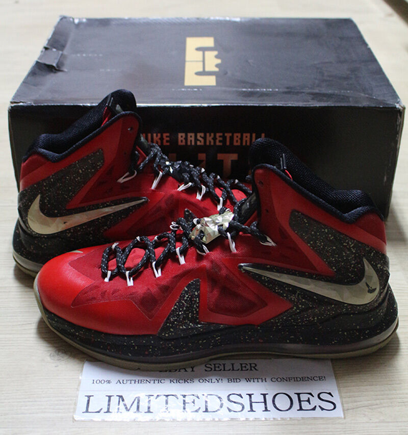 NIKE LEBRON X 10 ELITE ID RED BLACK GOLD DIAMOND COLLECTION 616120-994 US 11
