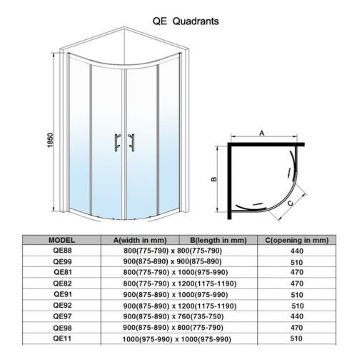 Offset Quadrant Shower Enclosure Corner Cubicle Glass Door Stone Tray Riser Kit