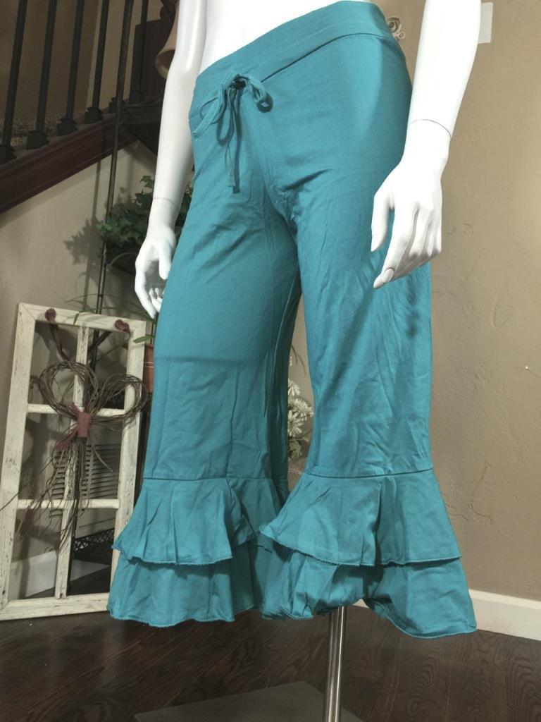 100% Cotton Ruffled Drawstring Fold-Over Waist 3 4 Length Yoga Bloomers -blueE