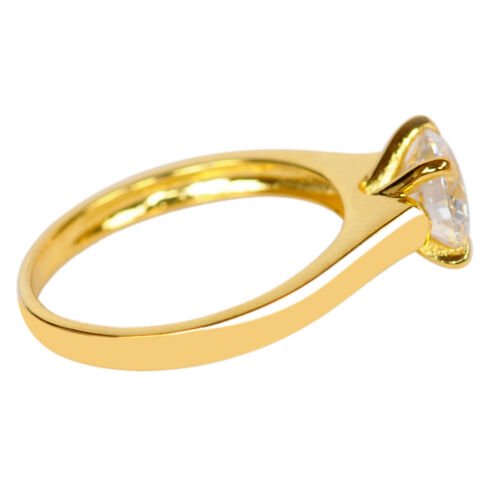 14KT Solid Yellow Gold Fantastic Round Shape 1.20Ct Solitaire Women/'s Ring