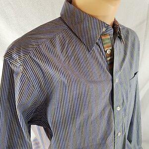 Robert-Graham-XL-Green-Blue-Red-Striped-Button-Front-Shirt-Flip-Cuff