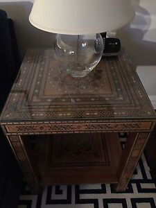 Details About Wooden Mosaic Moroccan Style Side Tables 2 With Custom Made Glass Top