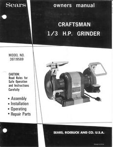 Craftsman 397 19589 1 3hp Bench Grinder 6 Quot X3 4 Quot X1 2