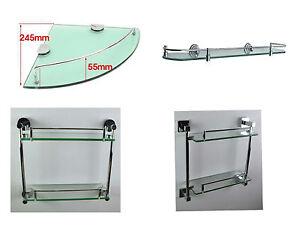 Badezimmer Wand Aufbewahrung Regale Regal Einheit Glas Chrom Ebay