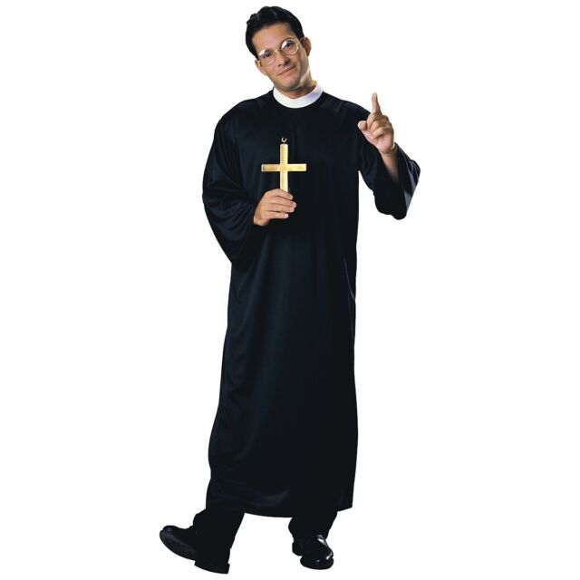 Priest Costume Adult Mens Religious Catholic Father Vicar Halloween Fancy Dress
