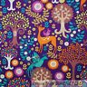 BonEful Fabric FQ Cotton Quilt Purple Brown Deer Bird Tree Flower Fantasy Forest