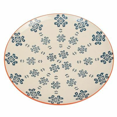 dotcomgiftshop MOORISH PLATE MEDINA BLUE TILE HAND PAINTED FLOWERS STONEWARE