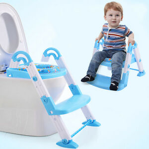 3 in1 Baby Toddler Kid Potty Step Ladder Potty Training Toilet Seat Mat Folding
