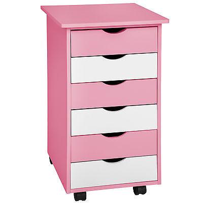 Kinderkommode Schubladen Rollcontainer Schubladenschrank Rollwagen blau rosa oak