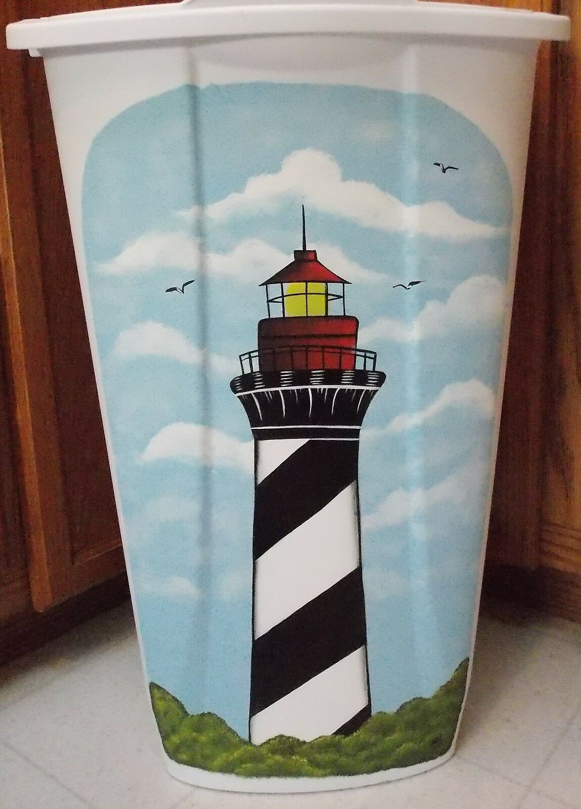 HAND PAINTED LIGHTHOUSE TRASH CAN  LAUNDRY HAMPER BY MB