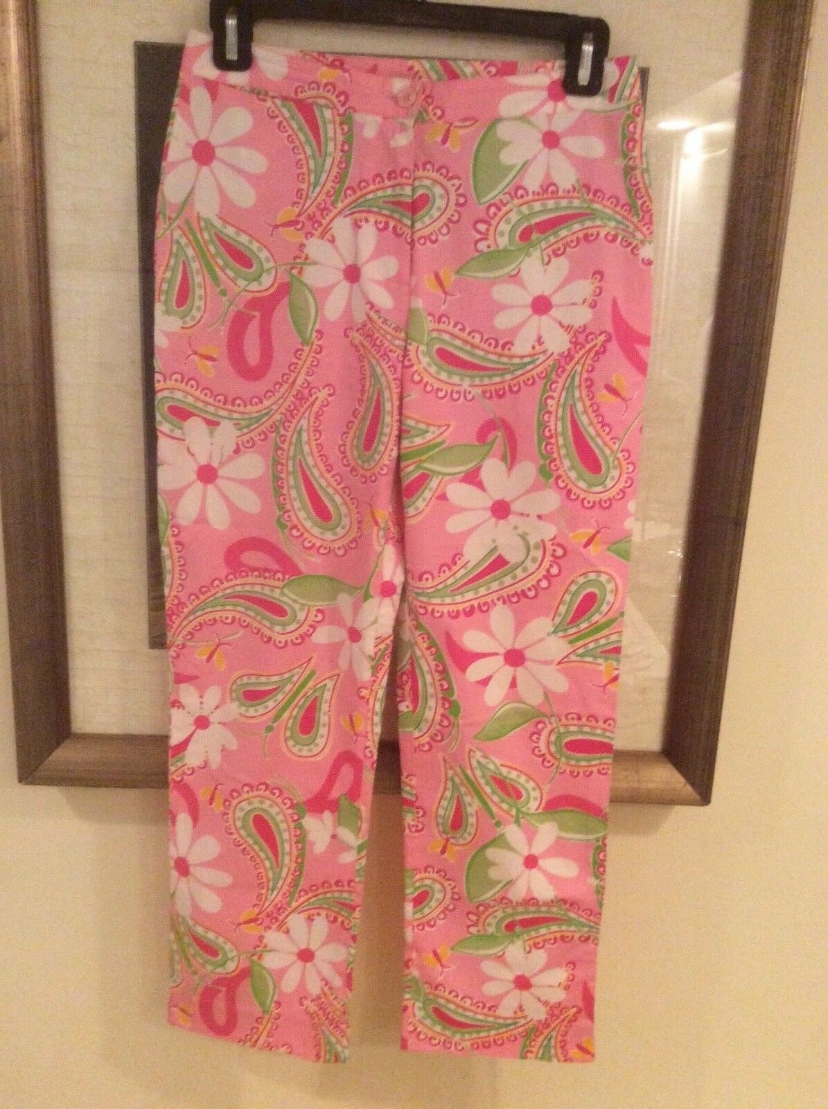 Lilly Pulitzer Pants Cotton Spandex Vintage Pink Neon Green Floral Tropical Sz 0