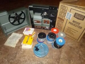 Sears-Super-8-movie-projector-8MM-Dual-Film-Projector-original-Box-amp-30-Movies