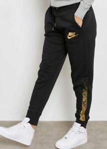 e388462a2 Nike Womens Rally Joggers M Black Metallic Gold Sweatpants Tapered ...
