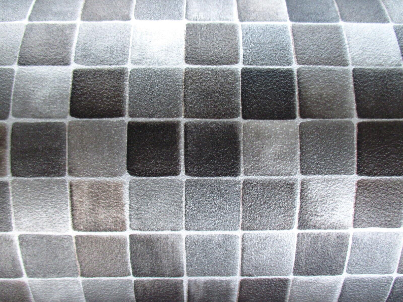 PVC  /m² CV Bodenbelag Mosaik Fliese anthrazit silber grau 300 x 200 cm
