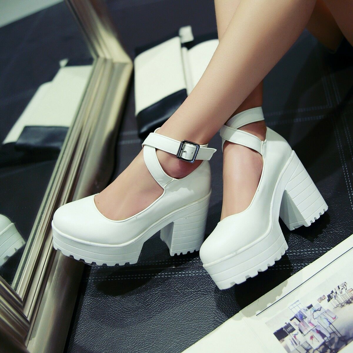 Womens High Heel Platform Ankle Strap Buckle Pumps Punk Sandals YE shoes Plus