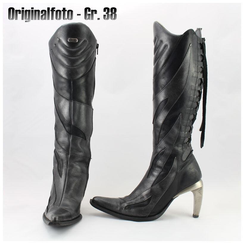 New Rock Stiefel Gr. anthrazit-schwarz 38/39 Lederstiefel Kniestiefel anthrazit-schwarz Gr. (#2546) 686eec