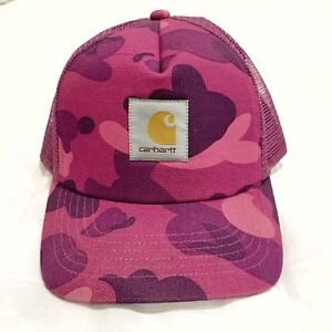 9a6704bbade4 Image is loading Bape-X-Carhartt-Canvas-Trucker-Hat-Purple-Camo