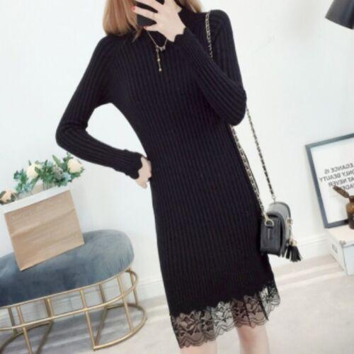 Women Lady Knit Sweater Dress Rib Lace Winter Long Slim Solid Pullovers Fashion