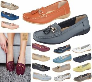 Ladies-Leather-Moccasins-Loafer-Plimsole-Pumps-Womens-Tassel-Flat-Shoes