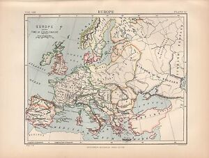 1880 Ca Antique Map Europe In The Time Of The Charlemagne Ebay