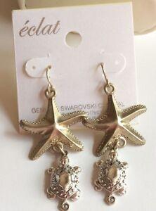 Gold-Silver-Sea-Life-Earrings-Starfish-Turtle-Pierced-Dangle-Island-Beach-Plated