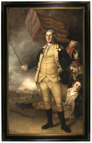 Peale George Washington at Battle of Princeton Wood Framed Canvas Repro 19x32