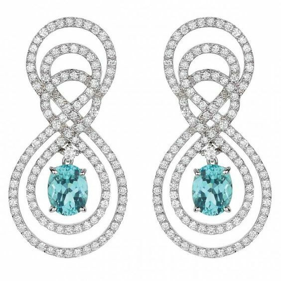 4.80ctw NATURAL DIAMOND TOPAZ 14K SOLID WHITE gold WEDDING ANNIVERSARY EARRING