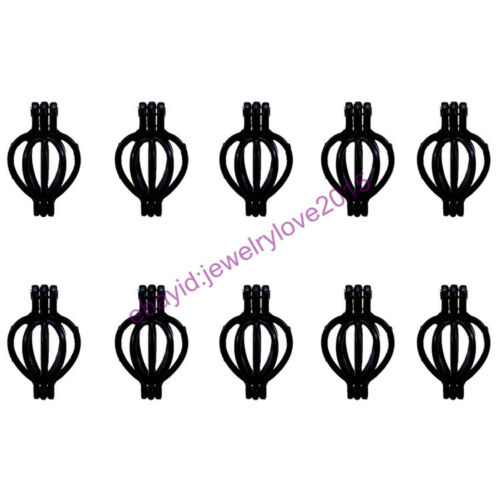 beads chain HY-H64 Black Pearl Cage Necklace 20mm Drop Locket Fit under 8mm