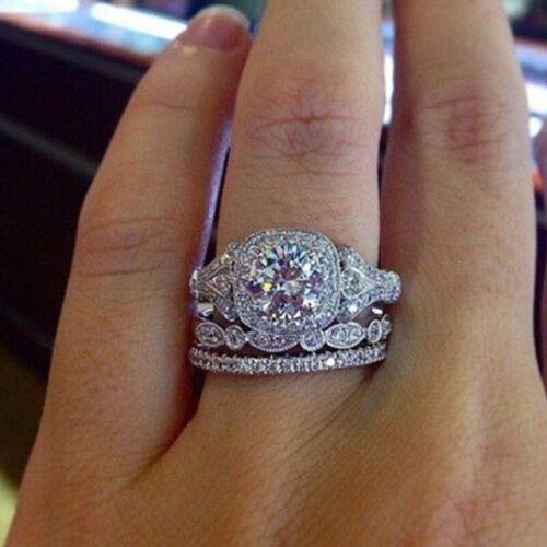 3pcs women/'s Artificial zircon ring wedding temperament charm Jewelry size 6-10