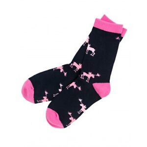 Hatley-Crew-Socks-WOMENS-Medium-9-11-PINK-MOOSE-ON-NAVY-BLUE