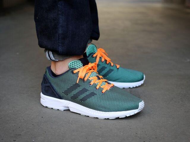 Mens Adidas Originals ZX Flux 8000 Weave Sneakers New, Green / Orange M19871