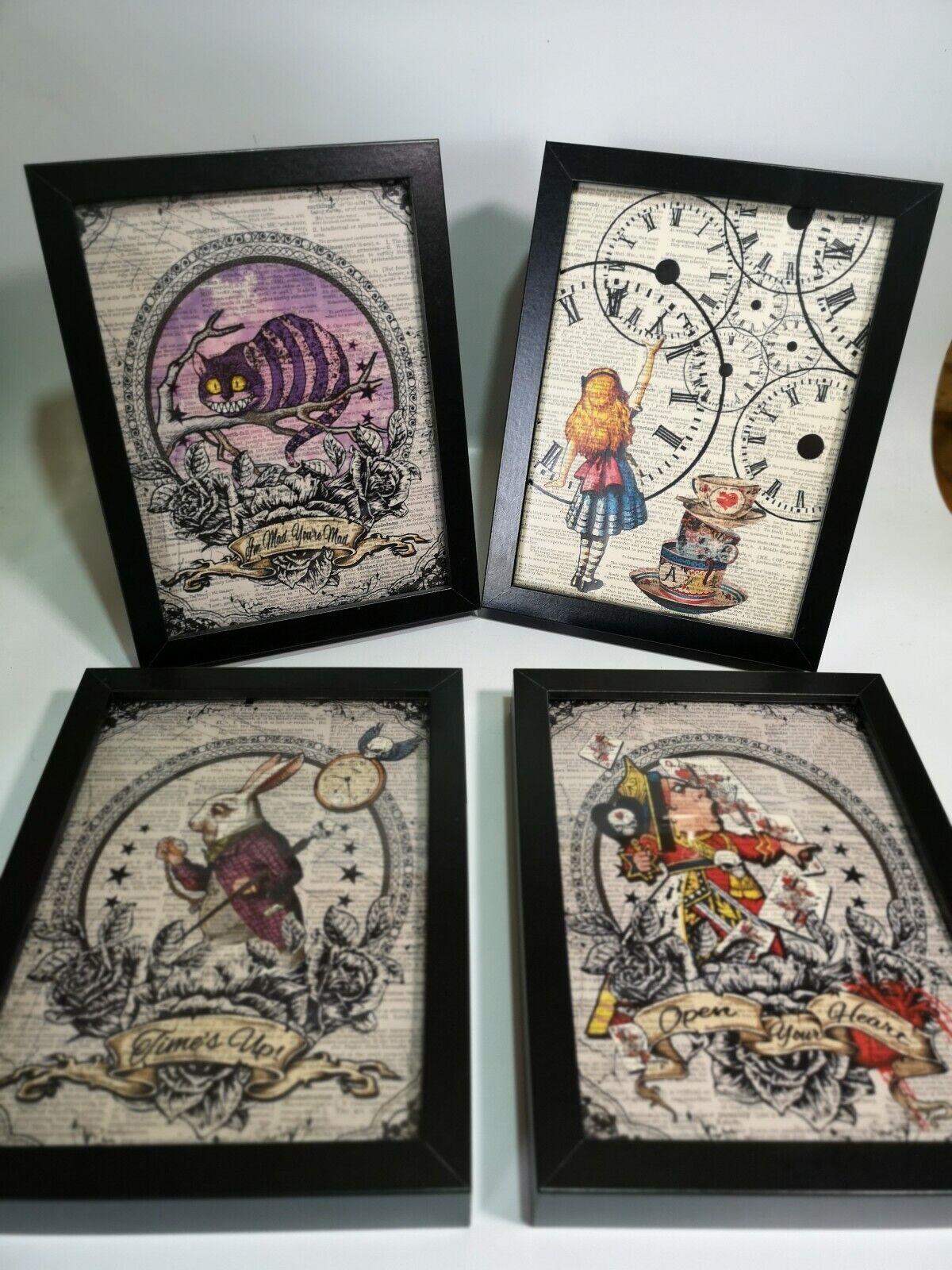 4 x DIZIONARIO incorniciato ART PRINT Alice nel paese delle meraviglie-leggi descrizione