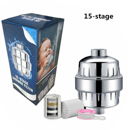 8-15 Stage Purifier Shower Water Filter head 2 Replaceable Cartridges