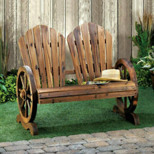 Excellent Details About Wagon Wheel Garden Bench Wooden Slat Back Rustic Two Flared Seats Fir Wood Beatyapartments Chair Design Images Beatyapartmentscom