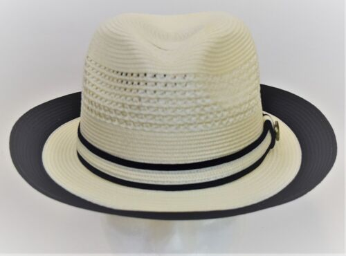Mens Fedora Dress Casual Hat Summer Straw Ivory//Navy Blue 100/% Poly Braid DT-932